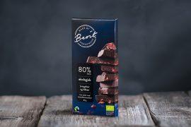 Made By Berit Nordstrand mørk sjokolade med bær, uten melk, 80% kakao, vegan, med bær